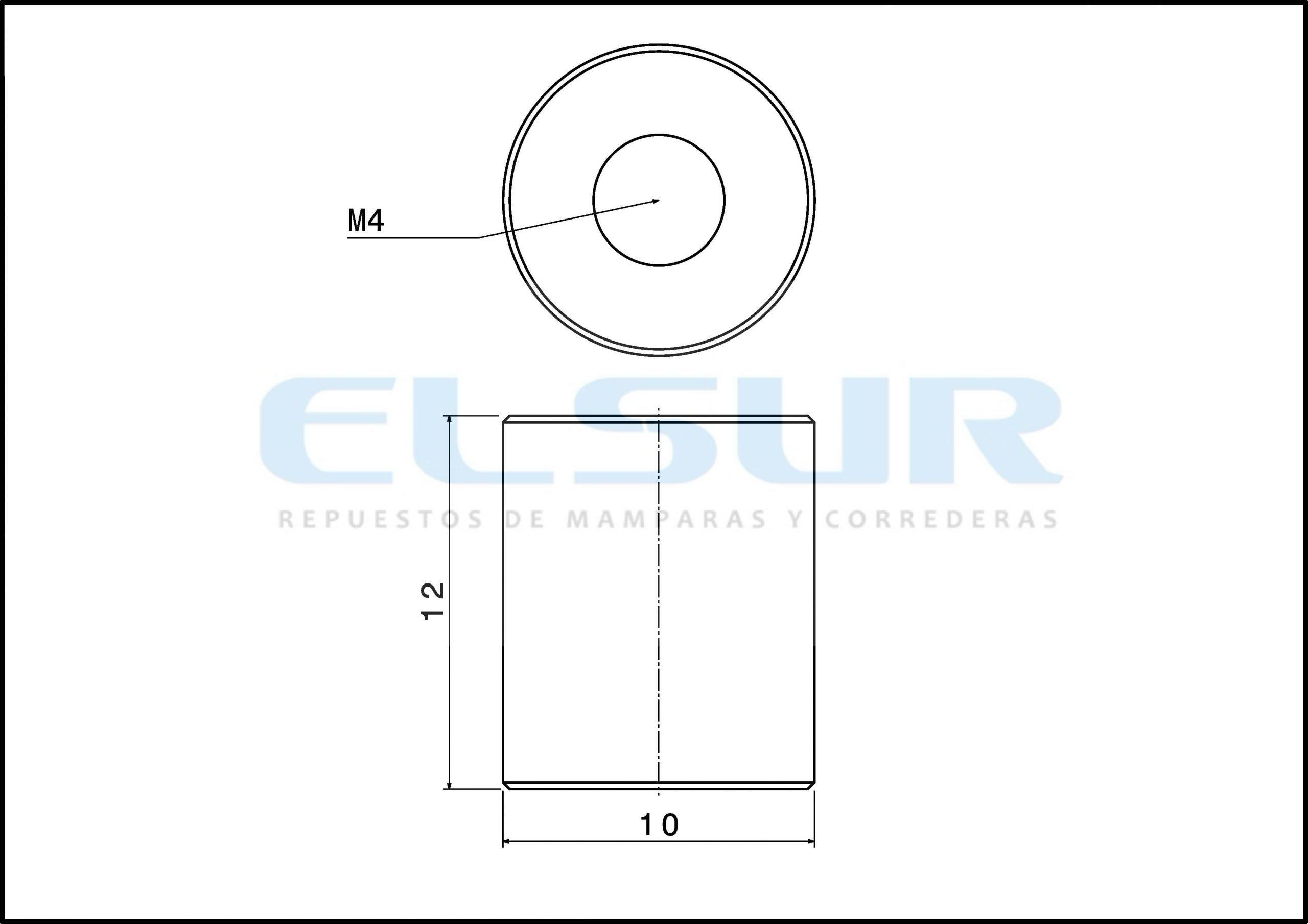 Casquillo 12 mm, con arandela y tornillo métrica 4×20 (