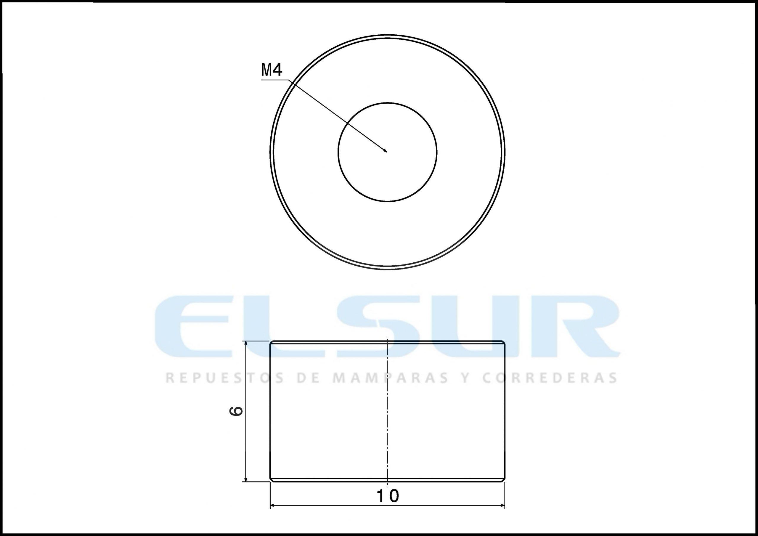 Casquillo 6 mm, con arandela y tornillo métrica 4×12