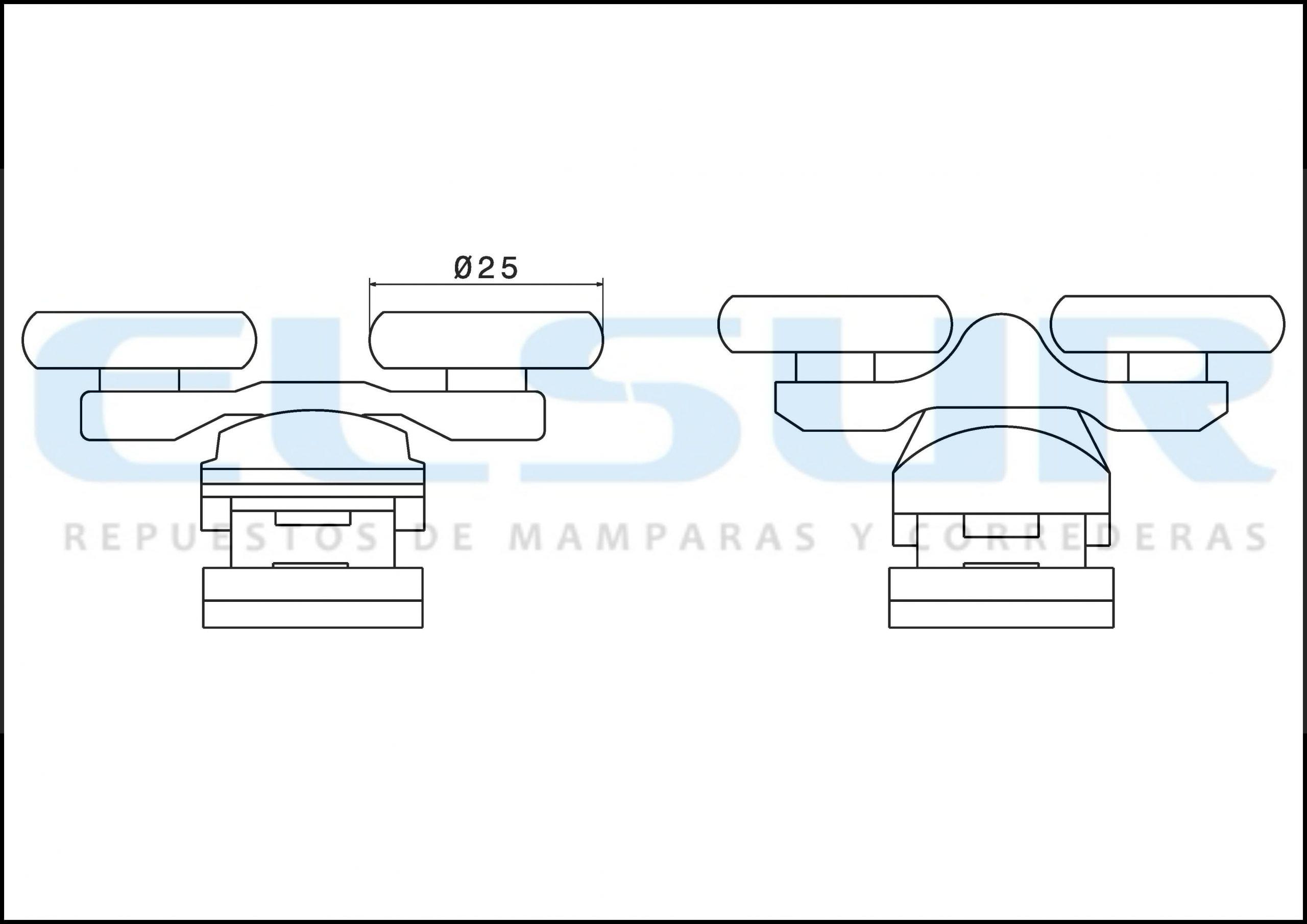 Juego metálica cromada doble rodamiento 25mm