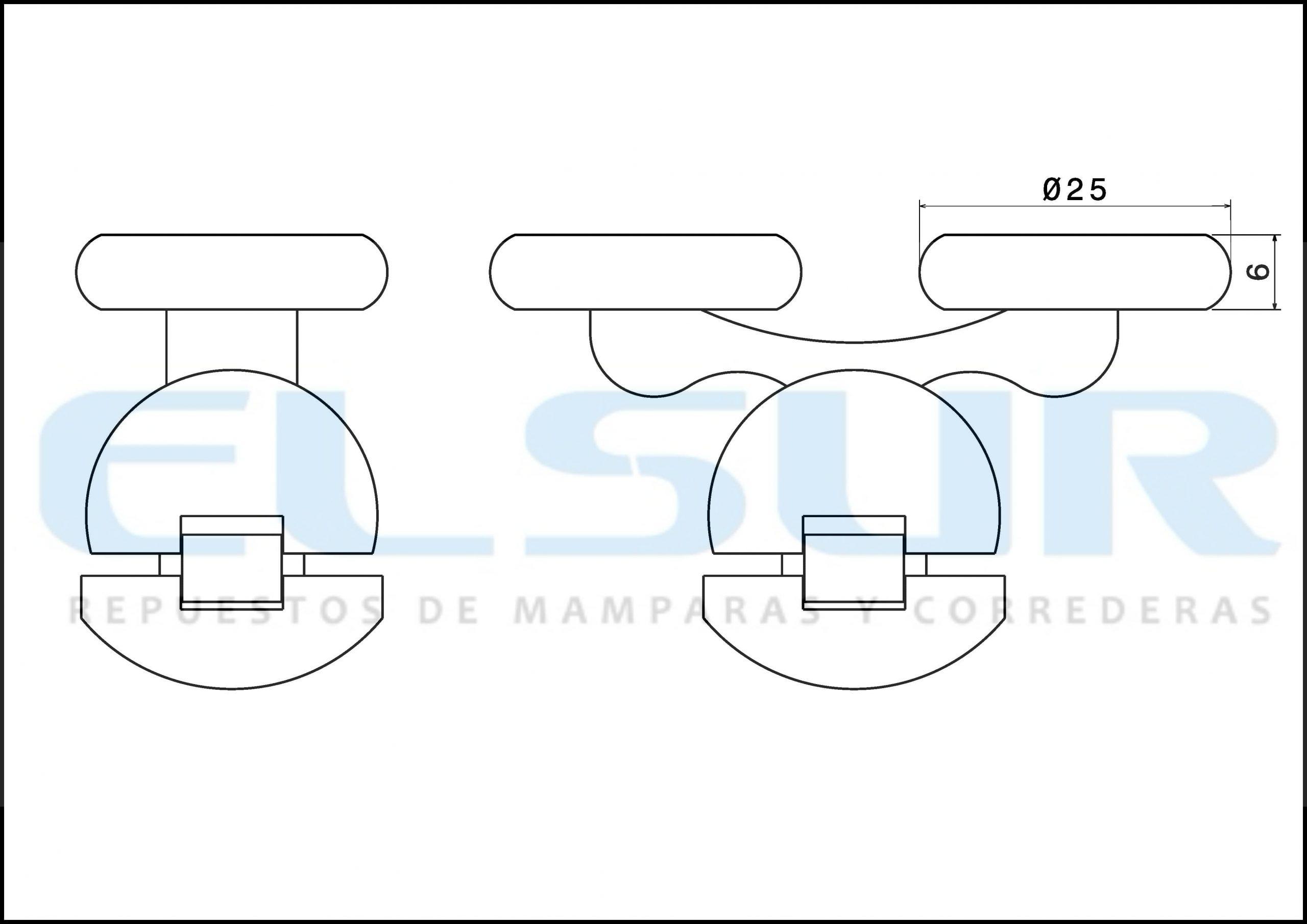Juego pieza superior e inferior con soporte metálico cromado doble rodamiento 25mm