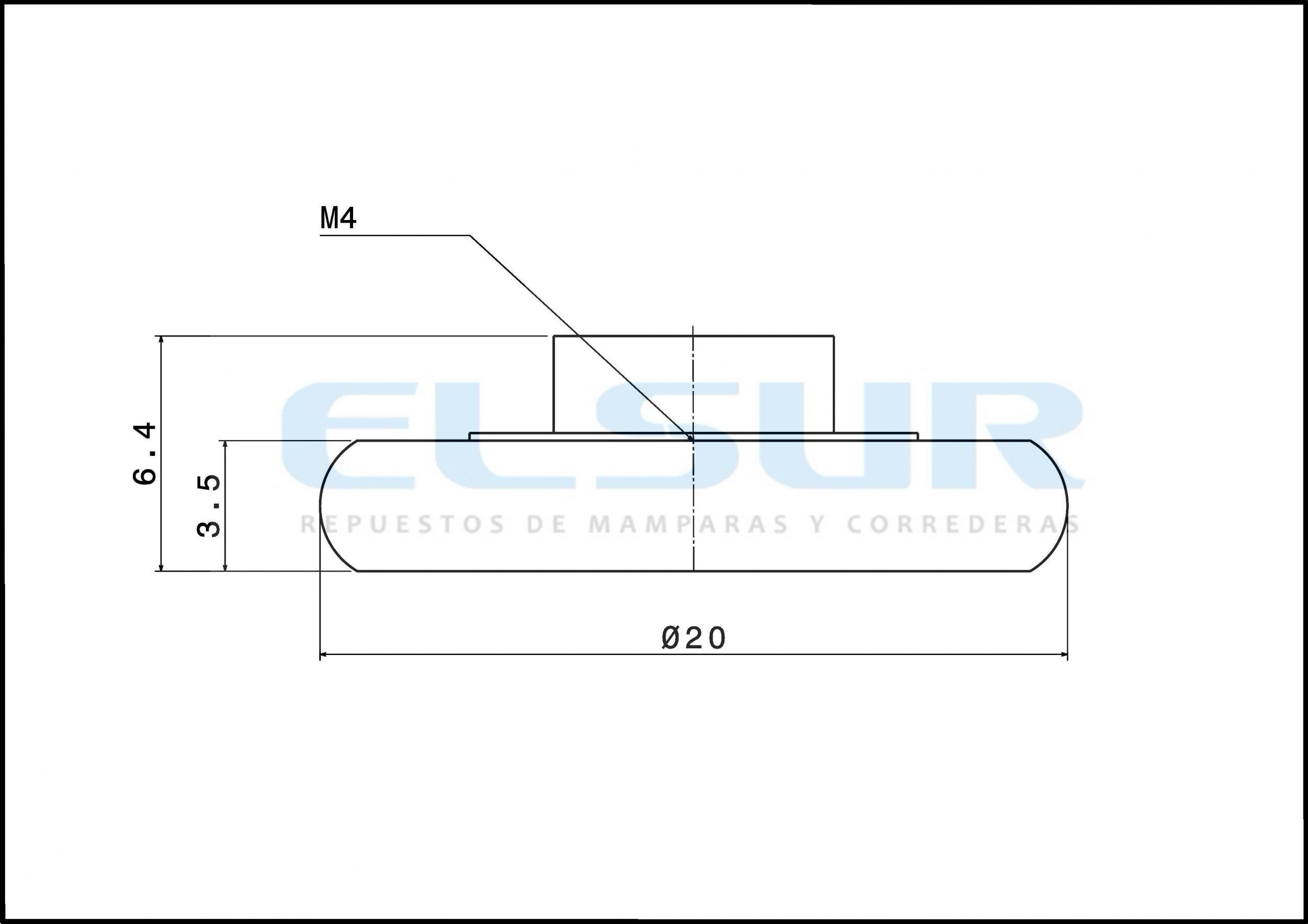 Rodamiento frontal 20 mm bolas plegable con tornillo 4×8
