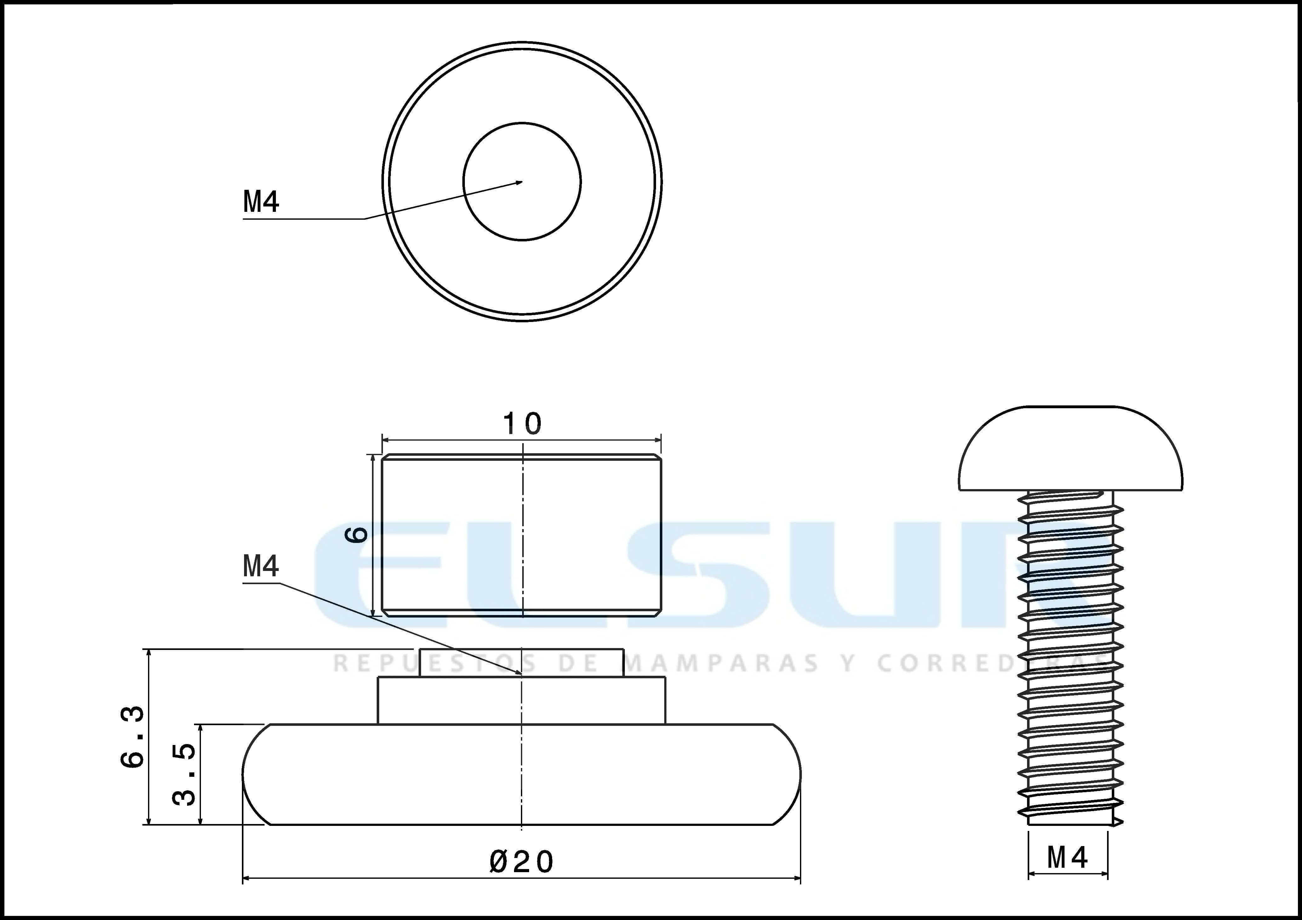 Rodamiento frontal 20 mm nylon casquillo 6mm