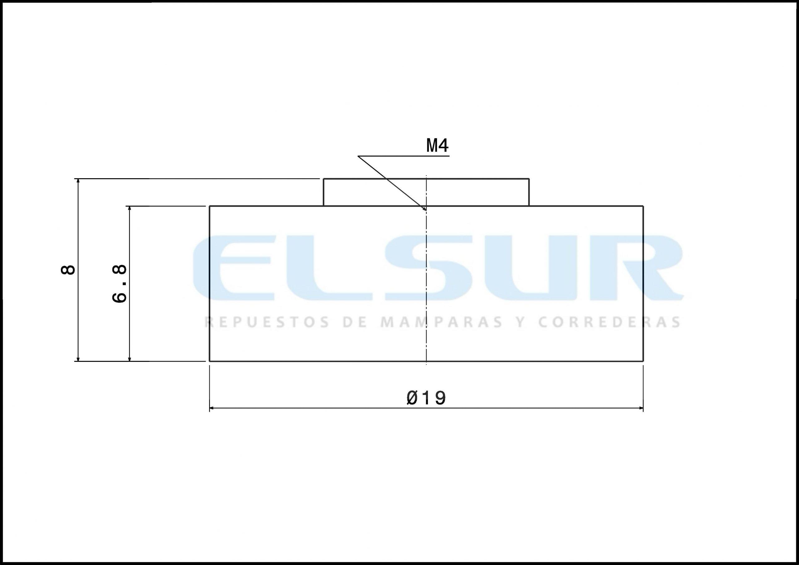 Rodamiento pista lisa 19 mm grosor 6,8mm