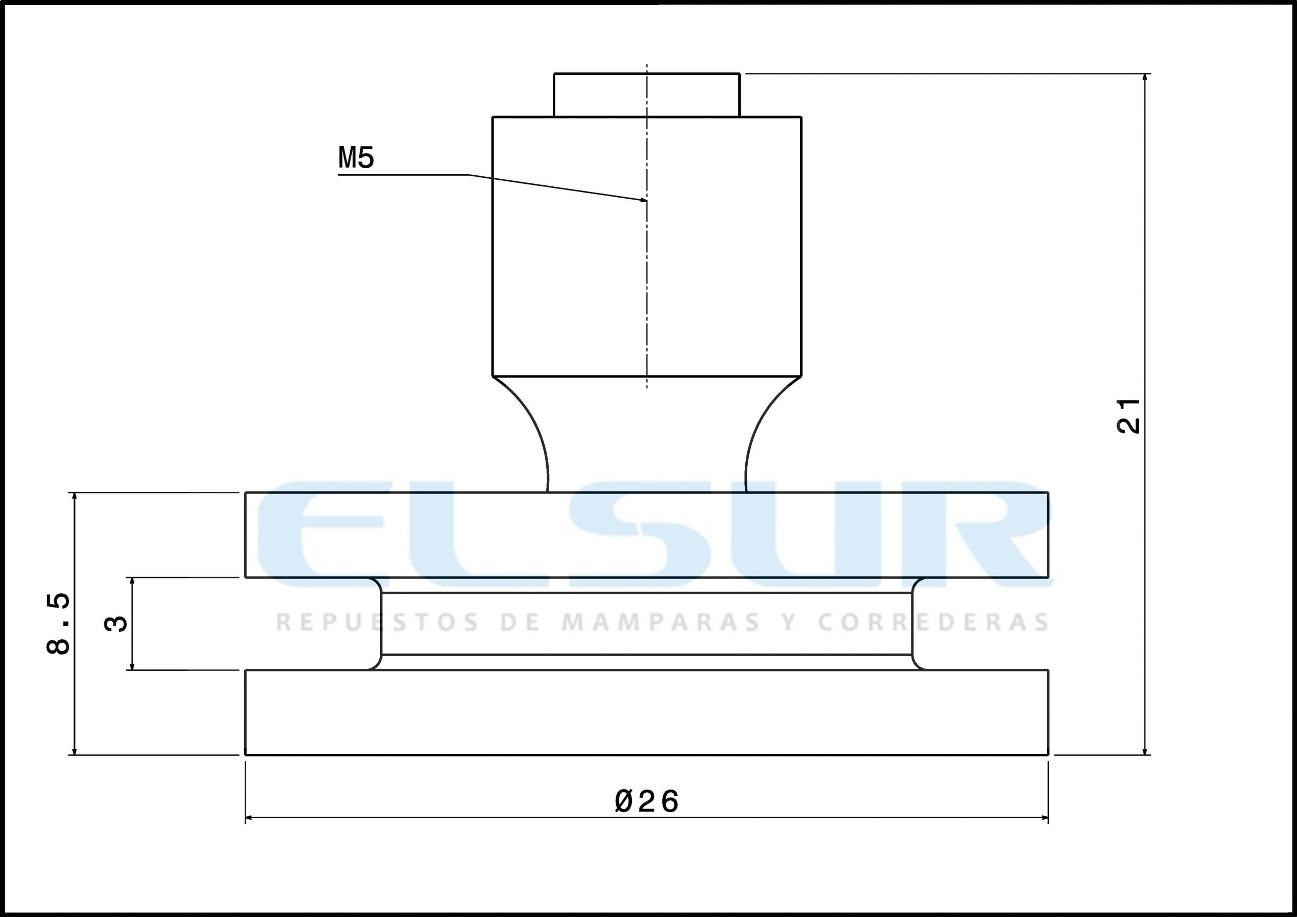 Rodamiento rótula 26 mm nylon con tornillo 5×8
