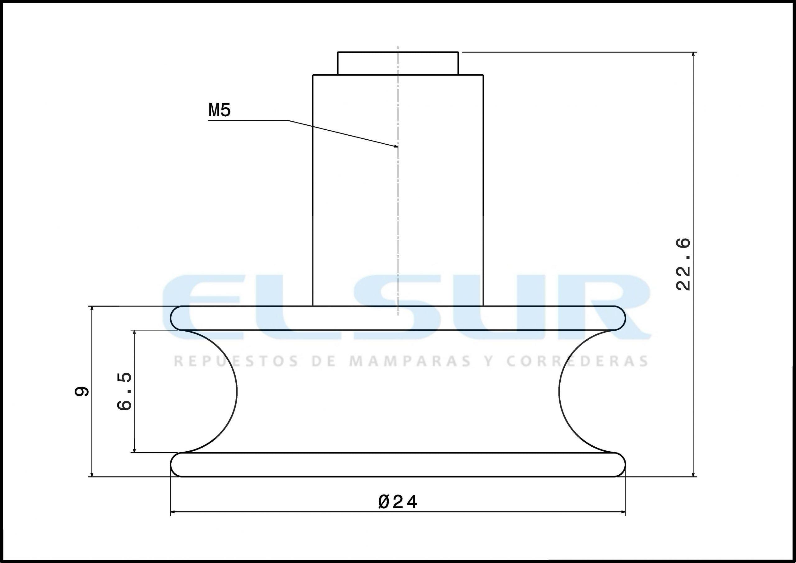 Rodamiento semicircular 24mm bolas con tornillo 5×8