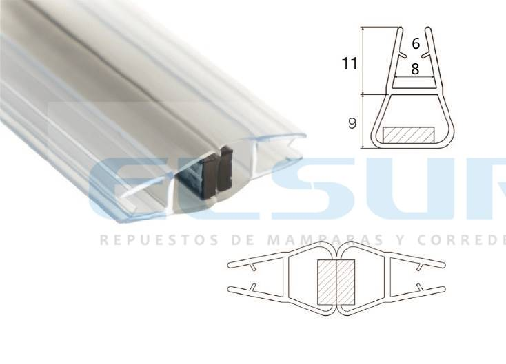 Imán mampara frontal caja 6/8 mm X 2 m