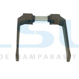 Juego manilla balconera con cuadradillo 8 mm aluminio bronce (1 JUEGO)