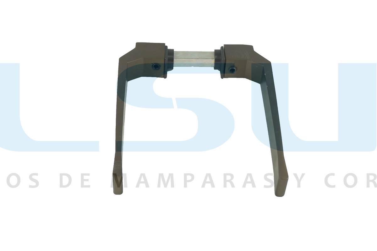 Juego manilla balconera con cuadradillo 8 mm aluminio blanco (1 JUEGO)