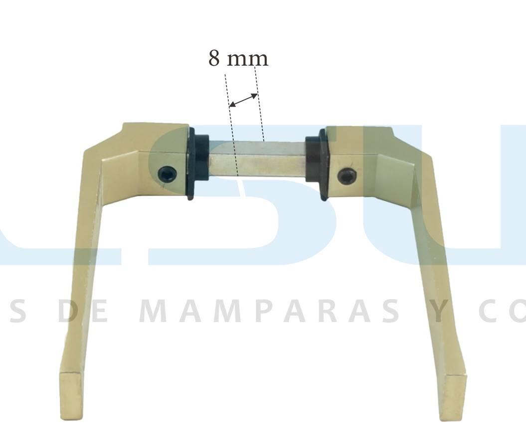 Juego manilla balconera con cuadradillo 8 mm aluminio oro