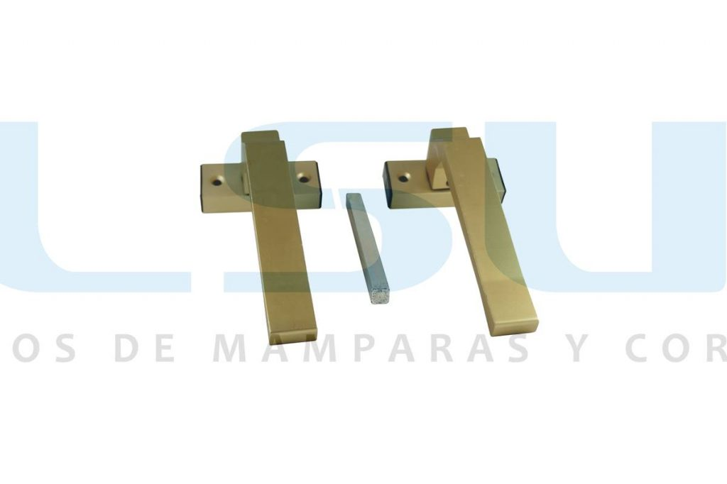 Juego manilla recuperable con escudo cuadradillo 8 mm aluminio oro