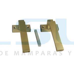 Juego manilla recuperable con escudo cuadradillo 8 mm aluminio oro (1 JUEGO)