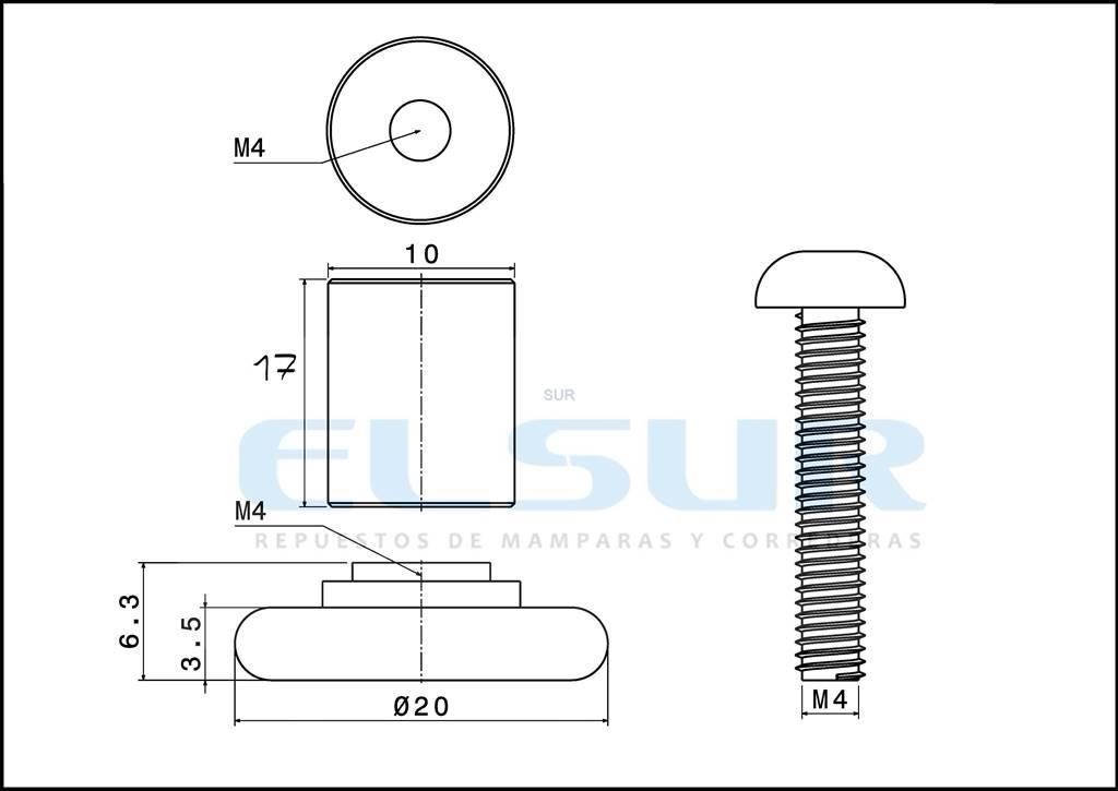 Rodamiento frontal 20 mm casquillo 17 mm, arandela y tornillo 4×25 mm