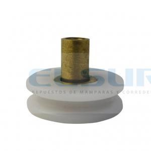 Rodamiento rótula 20 mm nylon pista lisa cóncava con tornillo métrica 4×8 (1 UNIDAD)