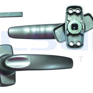 Juego manilla recuperable con escudo cuadradillo 8 mm aluminio, color plata (1 JUEGO )