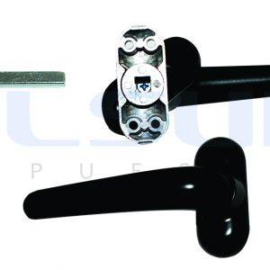 Juego manilla recuperable ECO, con escudo cuadradillo 8 mm aluminio, color negro ( 1 JUEGO)