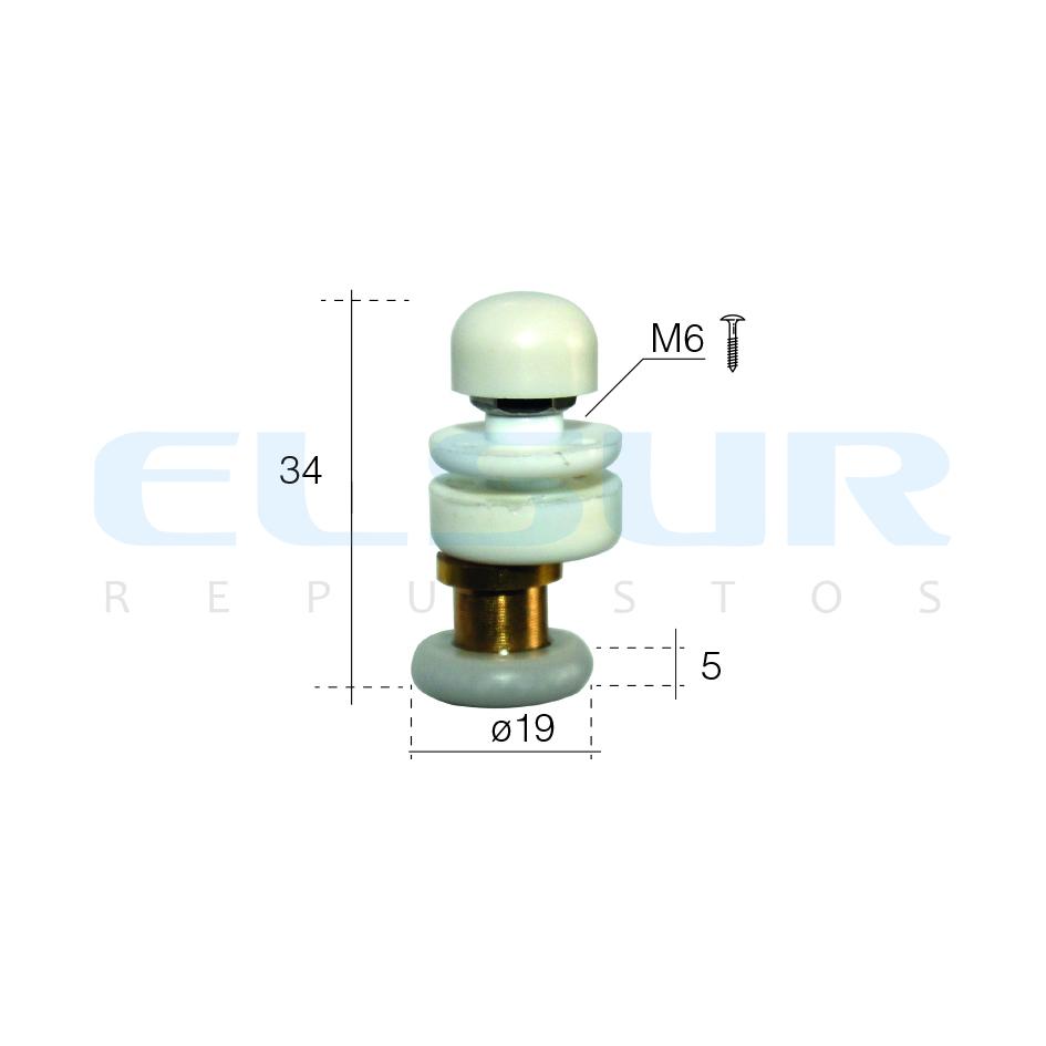 Excéntrica 19 mm, métrica 6, para cristal de 4 mm