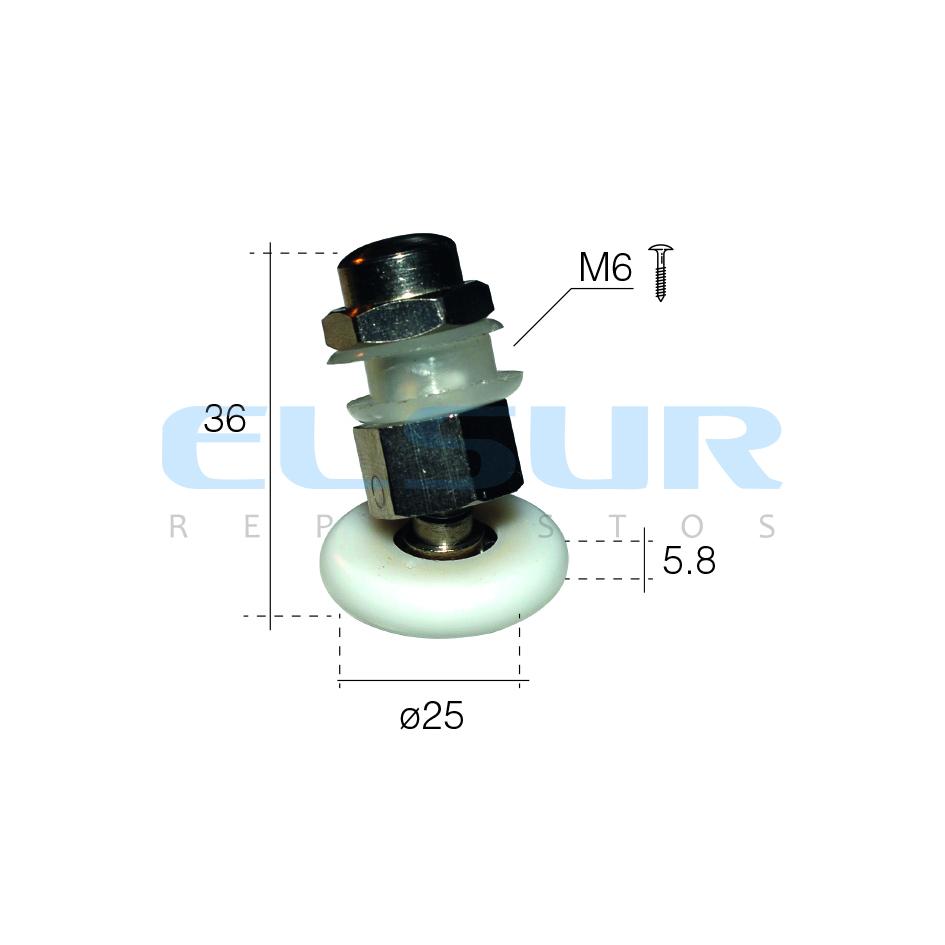 RÓTULA EXCÉNTRICA, DIÁMETRO 25 mm, TORNILLO COGIDA AL VIDRIO 5,8 mm ( 1 UNIDAD )